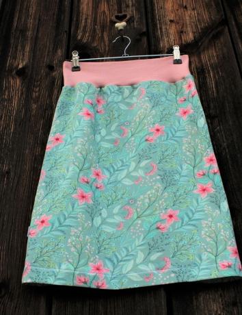 Úpletová sukně Flowers on Mint