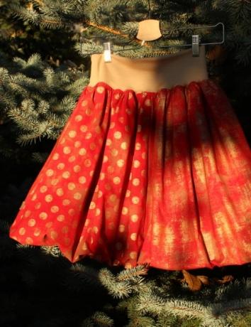 Balonová sukně Grunge Red dots and Gold