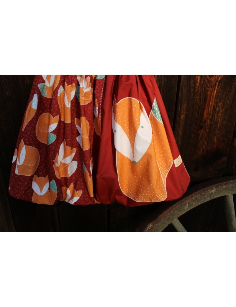 Autorská balonová sukně Liščí rodinka červená