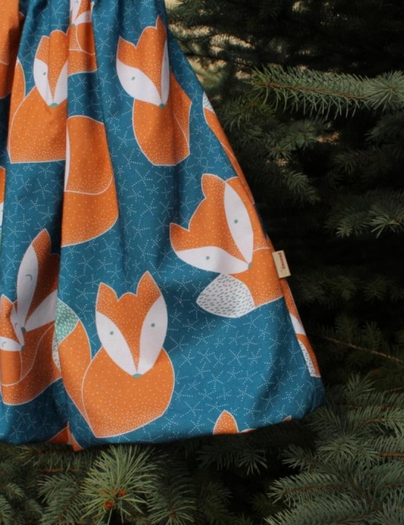 Autorská balonová sukně Lišky petrolejové