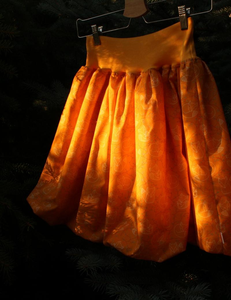 Autorská balonová sukně Lištičky okrové