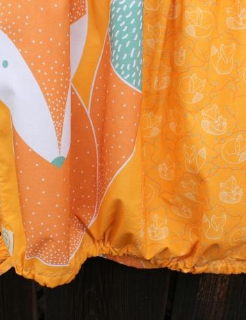Autorská kapsová sukně Lišky kamarádky okrové/žluté