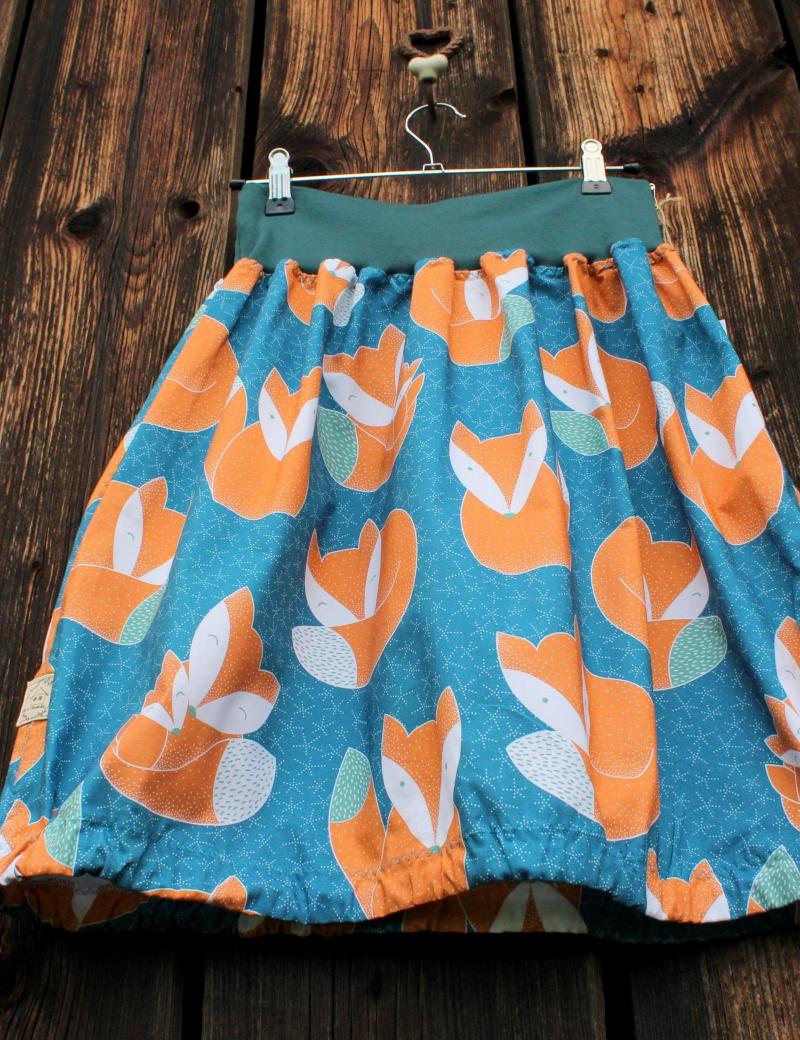 Autorská kapsová sukně Lišky petrolejové