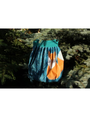 Autorská kapsová sukně Lišky kamarádky petrolejové