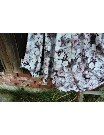 Půlkolová dlouhá sukně Béžovorůžové růže