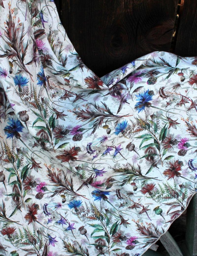 Lněná dlouhá sukně Divoká louka