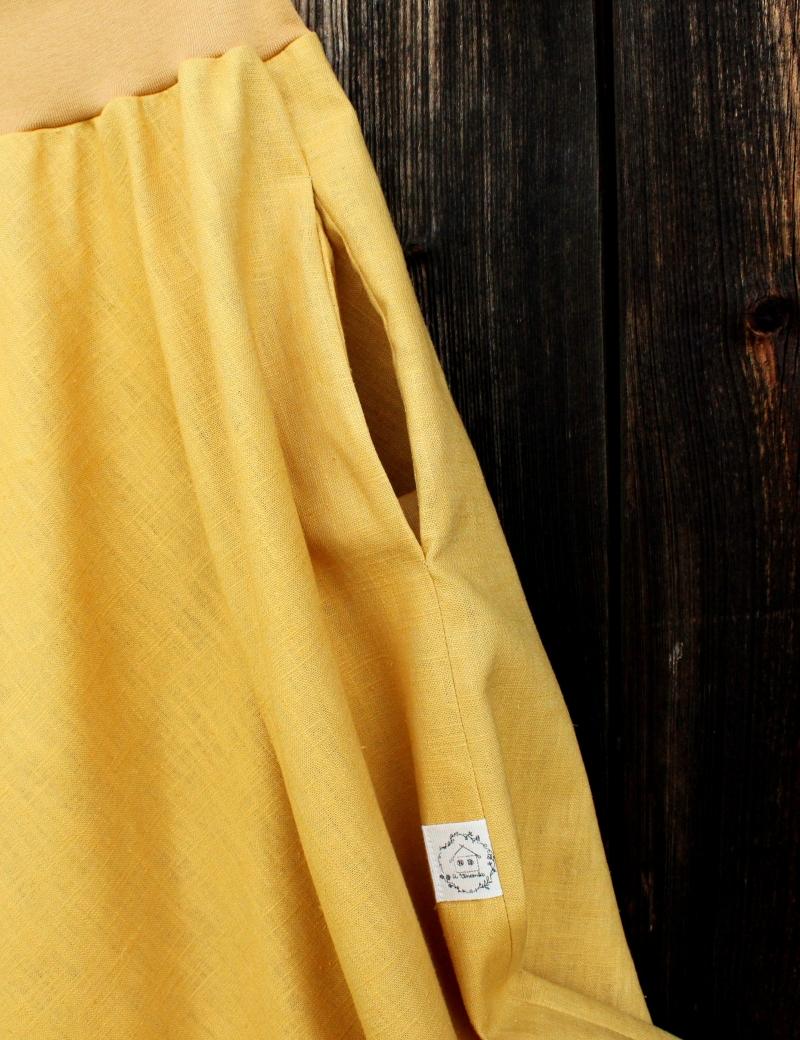 Lněná dlouhá sukně Okrová