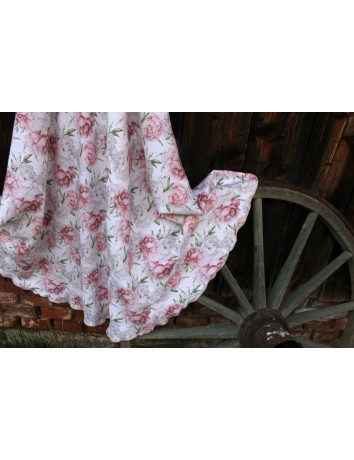 Lněná dlouhá sukně Pivoňky