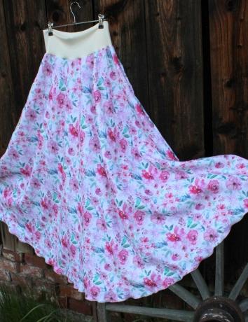 Lněná dlouhá sukně Léto