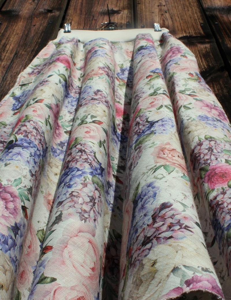 Lněná dlouhá sukně Hortenzie a růže