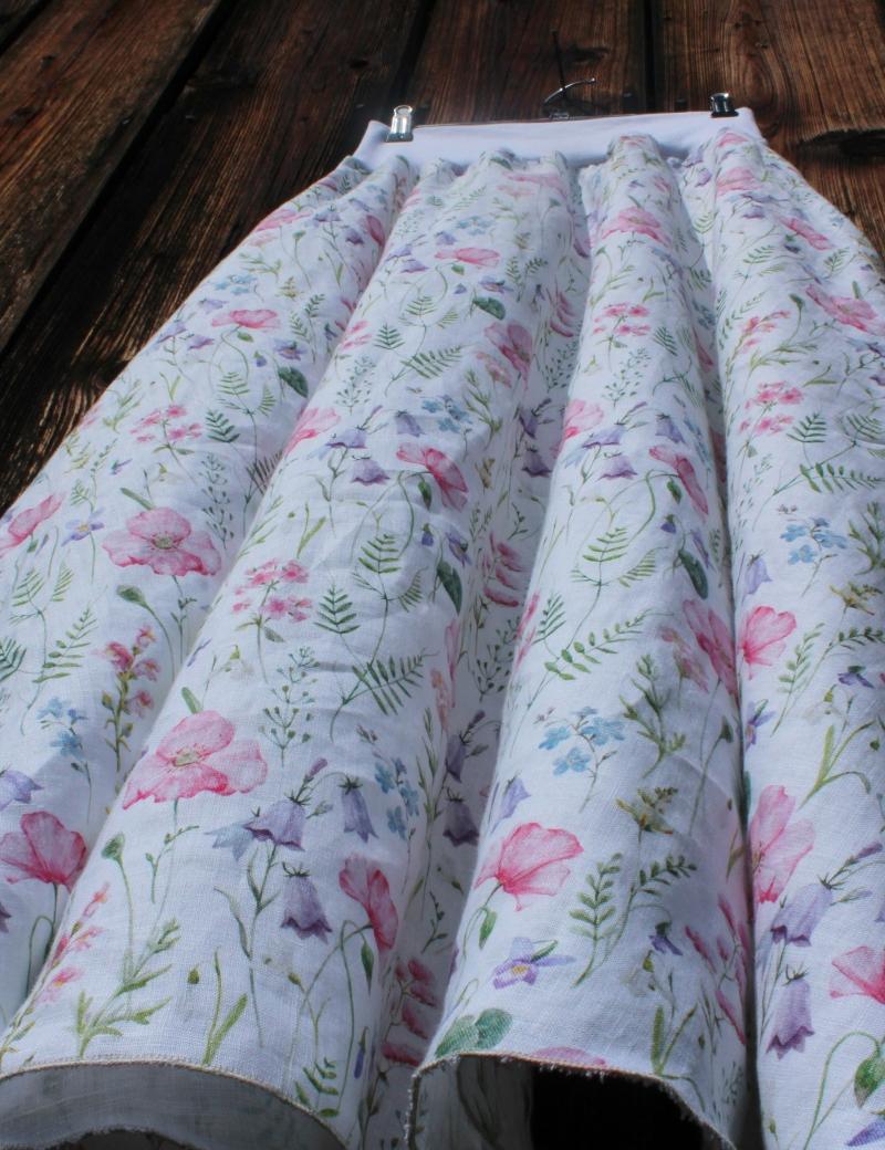 Lněná dlouhá sukně Luční kvítí
