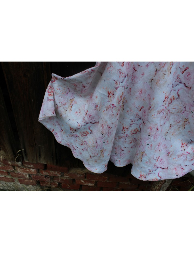 Lněná dlouhá sukně Růže