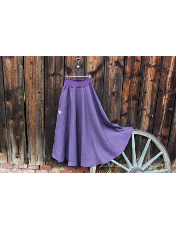 Lněná dlouhá sukně FIALOVÁ