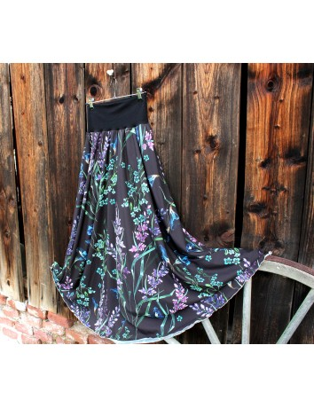 Skoropůlkolová dlouhá sukně Black meadow