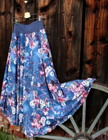 Půlkolová dlouhá sukně Růže na džínové
