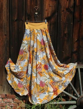 Půlkolová dlouhá sukně Tropické květy