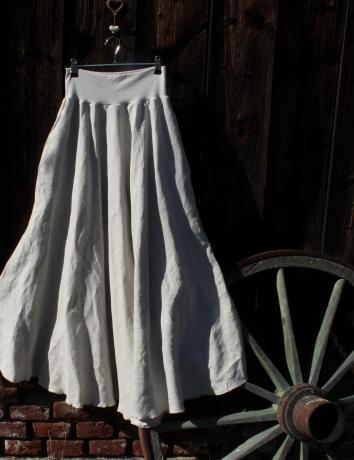 Lněná dlouhá sukně Ecru