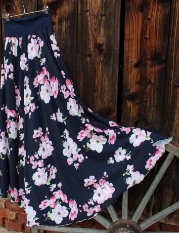 Půlkolová dlouhá sukně Třešňové květy