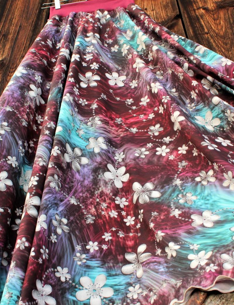 Půlkolová dlouhá sukně Malované květy