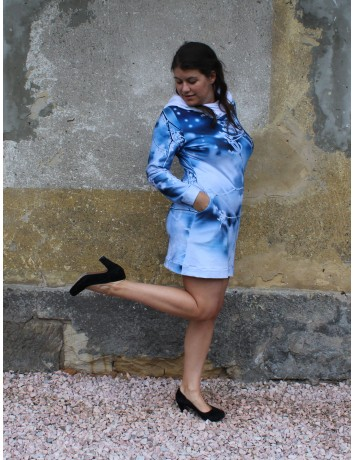Mikinové šaty s kapucí - Kmín