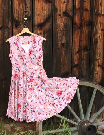 Zavinovací kolové šaty Malované květy na starorůžové